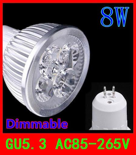 20PCS GU5.3 8W Dimmable 4x2W CE Rohs warm cool white 72